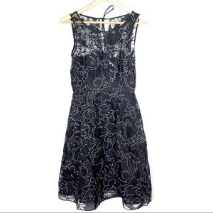 White House black pleated formal lace  dress